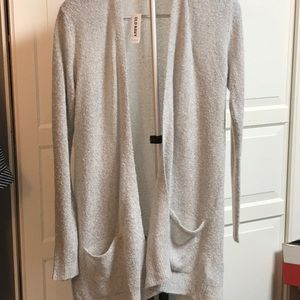 Long gray textured cardigan